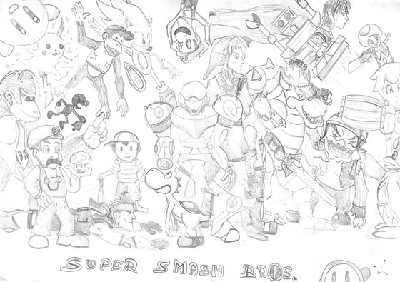 Wii U Coloring Pages : Super Smash Bros Bralw Wii Free Colouring Pages